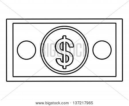 Money billet  isolated flat design, vector illustration concept.