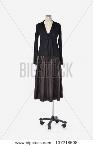 female black dress on dummy-gray background