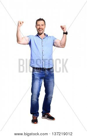 Happy energetic man on the white background