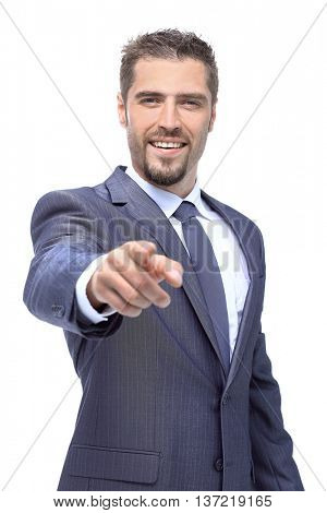 Successfull business man pointing his hand up. Isolated on white background