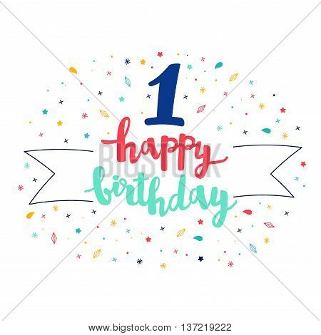 1 Happy Birthday Lettering With Tag And Stars, Crystals. Vector Greeting Card. Cute Pattern