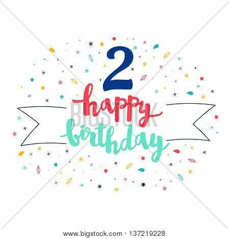 2  Happy Birthday Lettering With Tag And Stars, Crystals. Vector Greeting Card. Cute Pattern