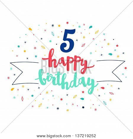 5  Happy Birthday Lettering With Tag And Stars, Crystals. Vector Greeting Card. Cute Pattern