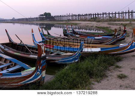 Passenger wooden ship for tourists at U Bein Bridge MandalayMyanmar