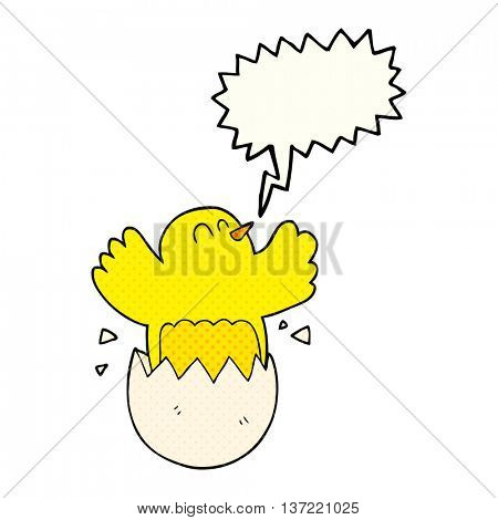 freehand drawn comic book speech bubble cartoon hatching egg
