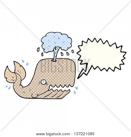 freehand drawn comic book speech bubble cartoon whale spouting water