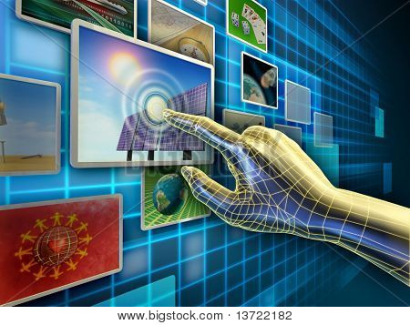 Hand using a touch-screen interface to browse through an image database. Digital illustration.