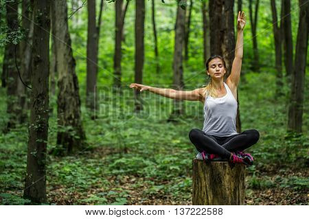 Warming-up. Beautiful sporty girl in the woods on a stump in yoga sports