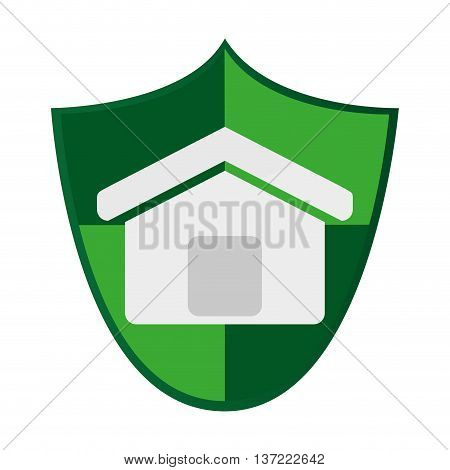 simple flat design shield with house icon vector illustration