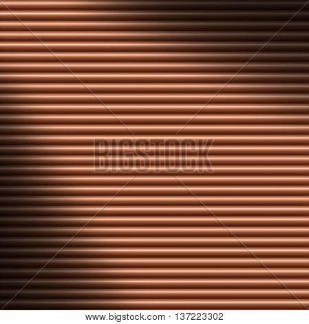 Horizontal copper-colored tube background texture lit diagonally
