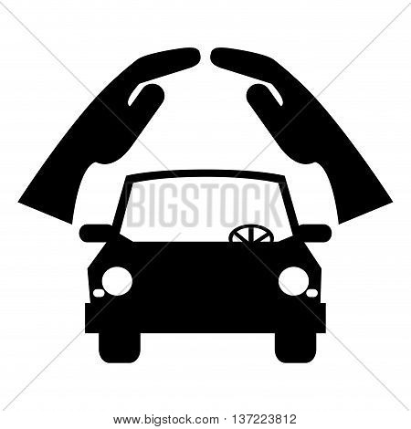 simple flat design car silhouette under sheltering hands icon vector illustration