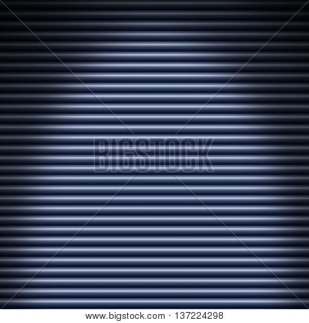 Horizontal blue metallic tube background lit from above. Dimensions can be distorted.