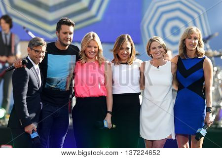 (L-R) George Stephanopoulos, Luke Bryan, Sara Haines, Ginger Zee, Amy Robach & Lara Spencer at ABC's Good Morning America Summer Concert Series at Rumsey Playfield on August 7, 2015 in New York City.