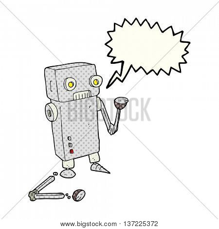 freehand drawn comic book speech bubble cartoon broken robot