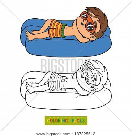 Coloring Book. Boy On Lying Inflatable Mattress