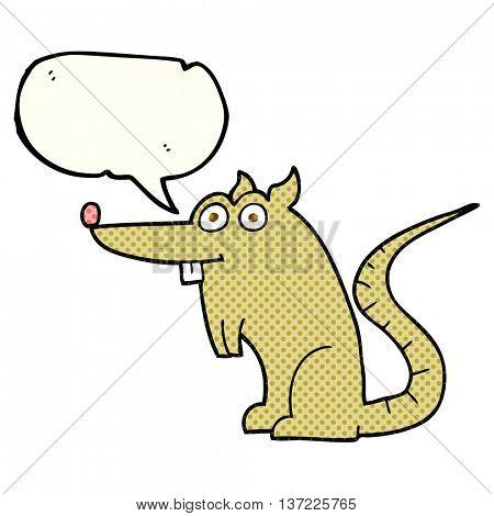 freehand drawn comic book speech bubble cartoon rat