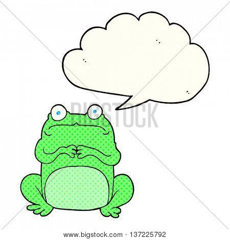 freehand drawn comic book speech bubble cartoon nervous frog