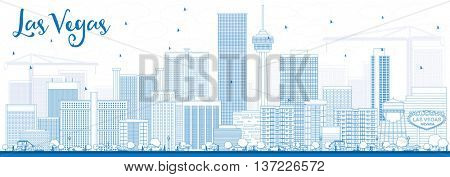 Outline Las Vegas Skyline with Blue Buildings. Business Travel and Tourism Concept with Modern Buildings. Image for Presentation Banner Placard and Web Site.