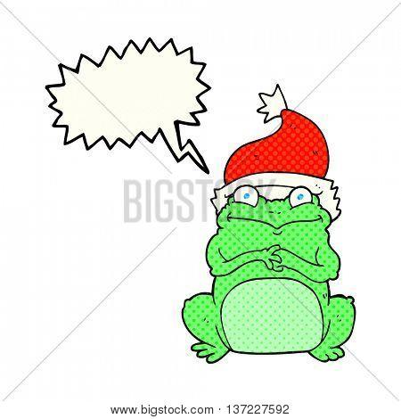 freehand drawn comic book speech bubble cartoon frog wearing christmas hat