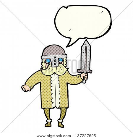 freehand drawn comic book speech bubble cartoon saxon warrior
