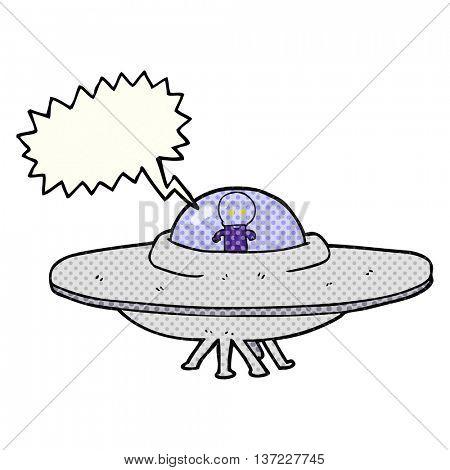 freehand drawn comic book speech bubble cartoon alien flying saucer