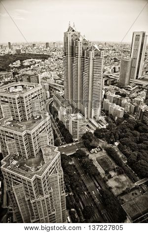 TOKYO-JAPAN, 27 June 2016: Top view from The Tokyo Metropolitan Government Building, also referred as Tocho. The two panoramic observation decks, one in each tower on floor 45 are free for the public.