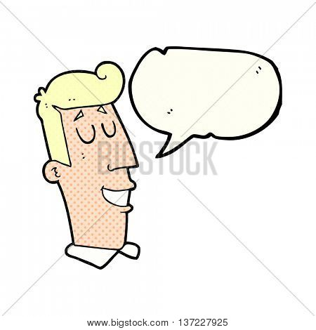 freehand drawn comic book speech bubble cartoon grinning man