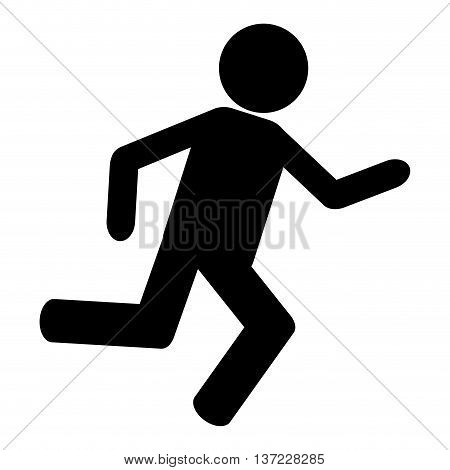 simple flat design person running pictogram icon vector illustration