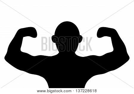 simple flat design muscular man flexing arms silhouette icon vector illustration