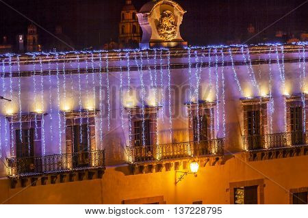 Mexican Symbol Government House Night Jardin Town Tree Square Christmas San Miguel de Allende Mexico.
