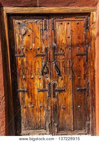 Golden Brown Wooden Door Jardin San Miguel de Allende Mexico
