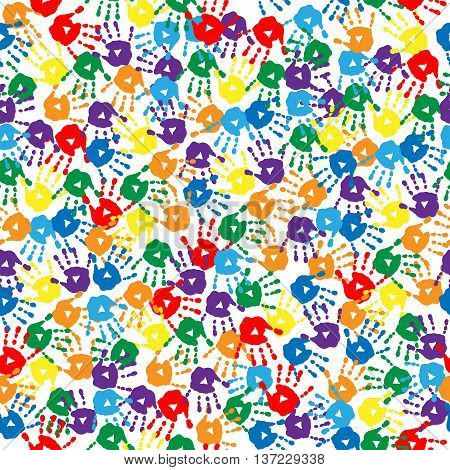 The seamless background with a multi-colored handprints