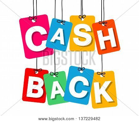 Vector colorful hanging cardboard. Tags - cash back on white background