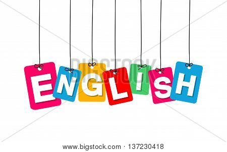Vector colorful hanging cardboard. Tags - english on white background