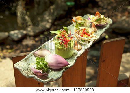 Vietnamese special salad of lotus onion shimp and squid or goi ngu sac