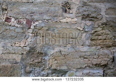 Wall of medieval fortress in Leningrad region, Russia