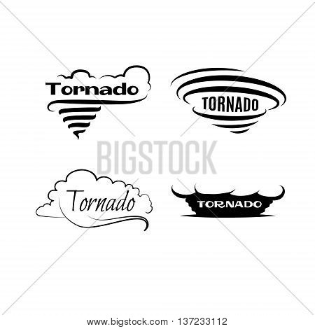 Tornado vector set. Logotypes and signs. Black and white labels with hurricane. Vector illustration.
