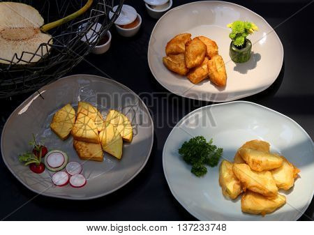 Fried sake fruit on the dish that serving in the restaurant
