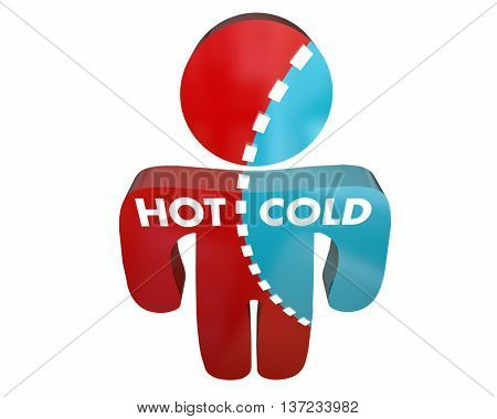 Hot Cold Person Percent Different Answers Temperature Survey 3d Illustration