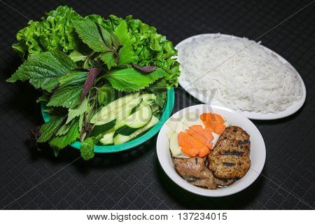 Bun cha or Vietnamese Kebab rice noodles Obama