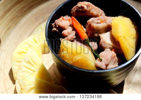 Pork ribs with pineapple that serving in the restaurant