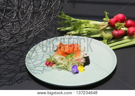 Salad of salmon and onion that serving in the restaurant