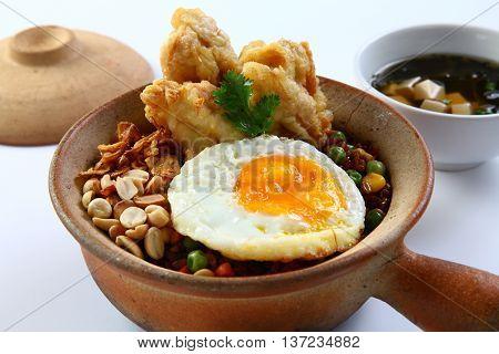 Bowl of fried shrimp egg and bean
