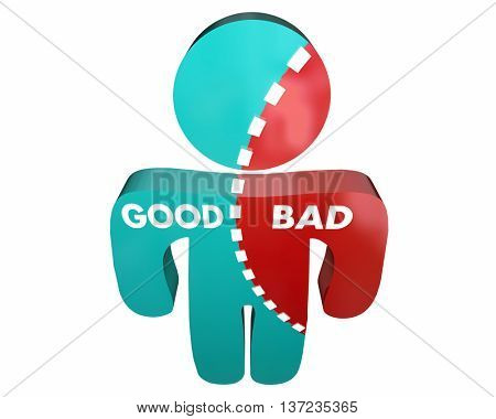 Good Vs Bad Person Percent Character Integrity 3d Illustration