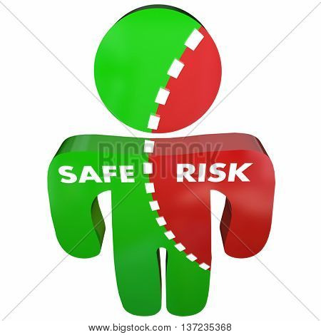 Safe Vs Risk Security Danger Person Survey 3d Illustration