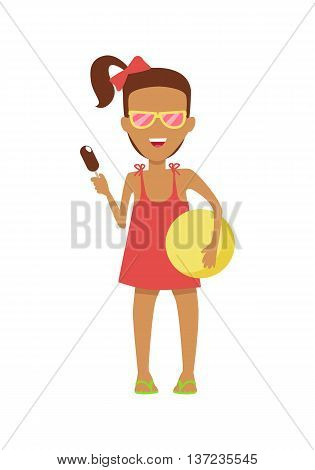 Girl character in dress and sunglasses with ice-cream and ball vector flat design illustration. Smiling child ready for summer camp ant beach entertainments standing isolated on white background.
