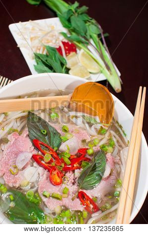 Pho or Vietnamese traditional noodle with beef