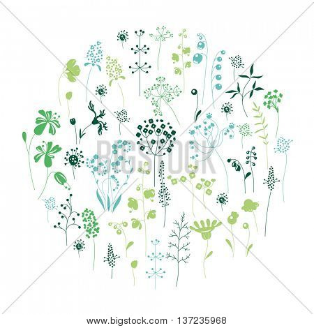 Round template with stylized herbs and plants.  Elegant silhouette. Template for your design, floral greeting cards, announcements, posters.