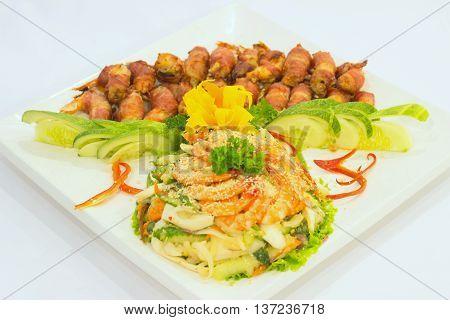 Shrimp salad that serving in the restaurant