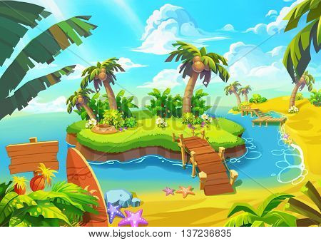 Happy Tropical Sand Beach Coast 1. Video Game Digital CG Artwork, Concept Illustration, Realistic Cartoon Style.